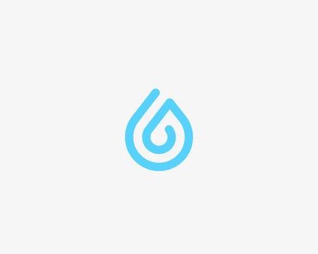 One line aqua logotype. Water drop vector logo symbol.