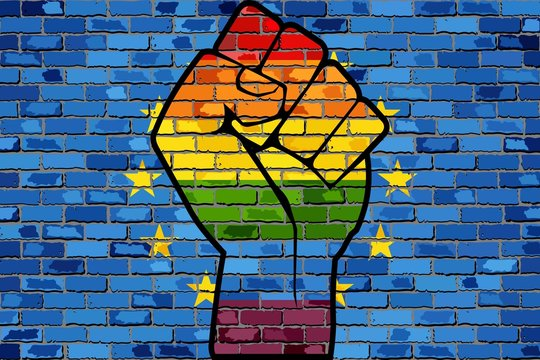 LGBT Protest Fist on a Europe Brick Wall Flag - Illustration,  Brick Wall European Union flag and Gay flags