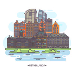 Museums and landmarks of netherlands or holland