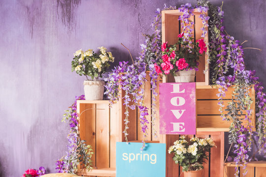 Happy Valentine's Day.Spring flowers, festive decoration.valentine's day card. Party interior. Spring holidays. Happy birthday photo session interior. Toned image. Copy space