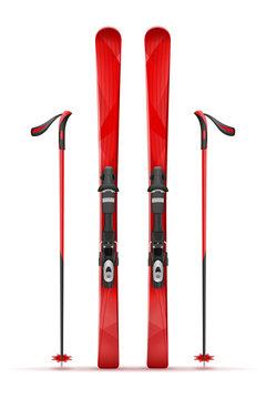 mountain ski and stick vector illustration