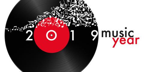 Carte de vœux 2019 symbole de la musique avec un disque vinyle et des notes