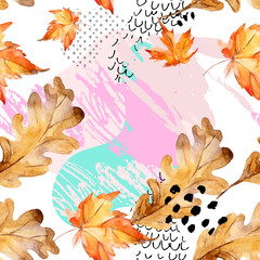 Poster Grafische Prints Abstract seamless pattern of autumn oak, maple leaves, fluid shapes, minimal grunge element, doodle