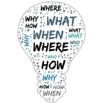 Word Cloud - Who, What, Where, When, Why and How on white background