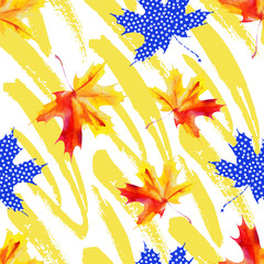 Poster Grafische Prints Rough grunge brushstrokes and watercolor maple leaves seamless pattern.