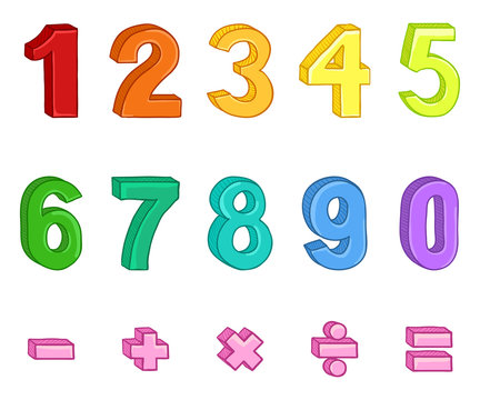Vector Set of Cartoon Multicolor Numbers and Mathematical Signs.