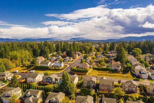 Aerial drone photo Seattle Washington residential neighborhoods
