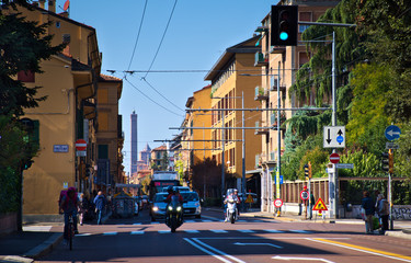 famus street in Bologna. Asinelli's tower in background