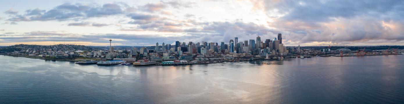 Aerial panorama far shot Seattle waterfront