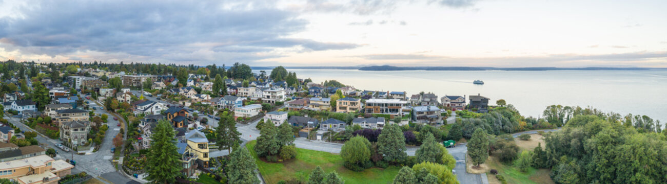 Aerial drone panorama residential real estate in Seattle Washington