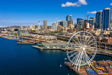 Aerial image of the Seattle Great Wheel