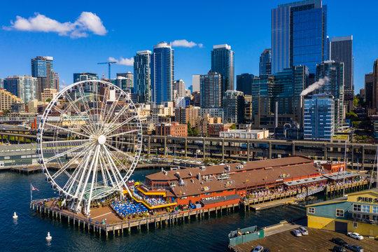 Drone photo Seattle Great Wheel