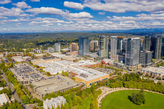 Aerial drone photo Downtown Bellevue Washington USA