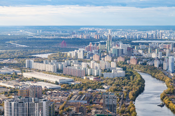 aerial view of northwest of Moscow city