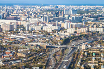 above view of Railway Circle and north of Moscow