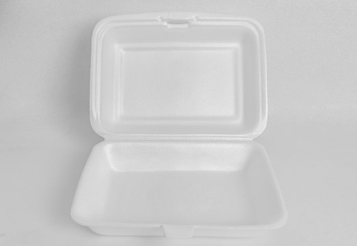 White foam food container or box
