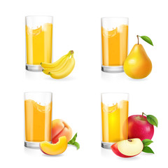 Fruit juice in glass set. Banana, apple, pear, peach drink.