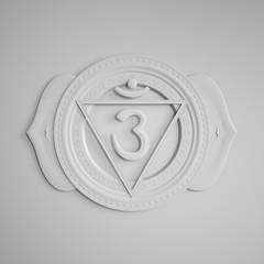 abstract white embossed paper Ajna chakra symbol, 3d modern illustration