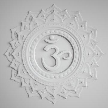 abstract white embossed paper Sahasrara chakra symbol, 3d modern illustration