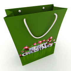 Green Christmas shopping bag