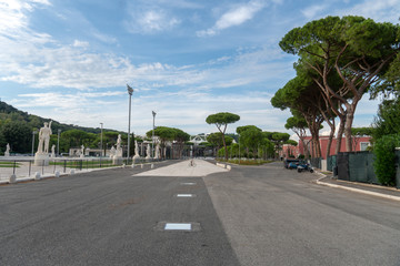 Road leading to the Olympic Stadium. The Stadio Olimpico is the main and largest sports facility of Rome, located within the Foro Italico sports complex