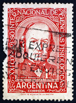 Postage stamp Argentina 1959 Claude Bernard, French physiologist