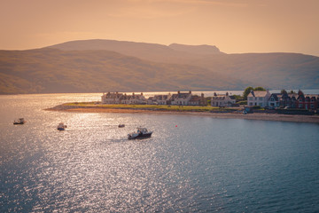 Sunrise landscape in Ullapool, fishing village, located in Loch Broom, Scottish Highlands
