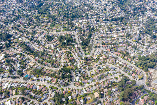 Aerial View of Crowded Housing in Bay Area of Northern California
