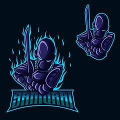 Samurai Robot Esports Logo for Mascot Gaming and Twitch