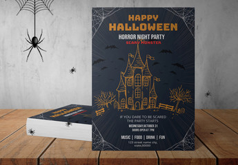 Halloween Party Flyer Layout with Cartoon Illustrations