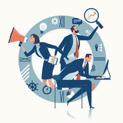 Office work. Business Team. Concept vector illustration.