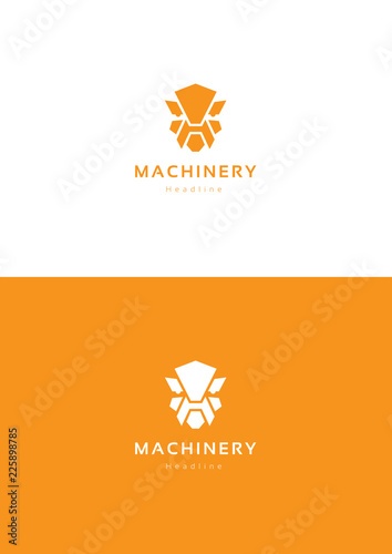 Robot machinery logo template