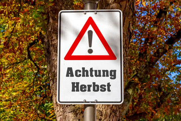 Fototapete - Achtung Herbst