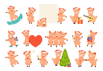 Christmas pig large set
