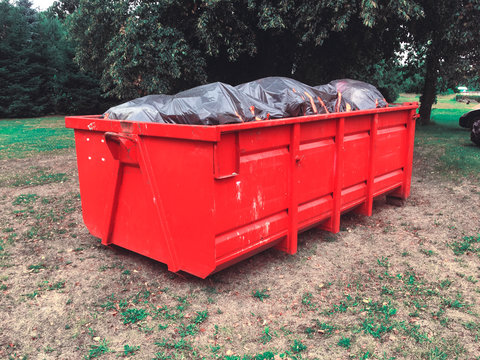 Large waste bin, construction waste, Dumpsters being full with garbage container Over flowing