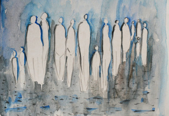 Gruppe von Menschen, herbstlich im Regen, anonym in der Stadt, abstrakte Silhouette in blau