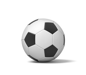 3d rendering of a single black and white leather ball for playing football or soccer.