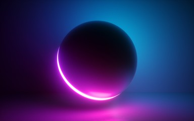 3d render, glowing sphere, ultraviolet neon light, blank space, pink blue disco ball, bubble, balloon, abstract minimal background, network connections, laser show