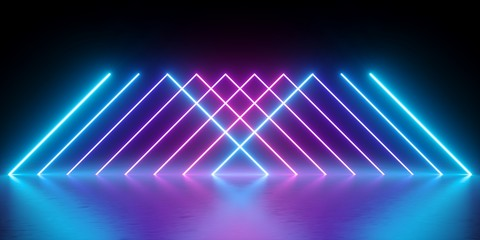 3d render, neon lights, abstract background, glowing lines, virtual reality, violet triangles, ultraviolet, infrared, spectrum vibrant colors, laser show