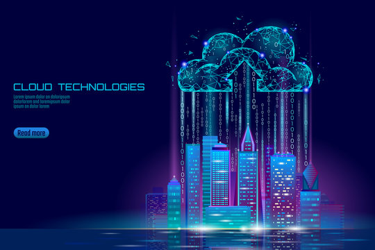 Smart city 3D light cloud computing cityscape. Intelligent building big data exchange storage online futuristic business concept future technology. Urban banner vector illustration