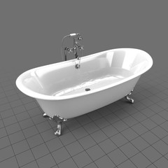 Full clawfoot tub with water on