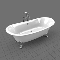 Full clawfoot tub with water off