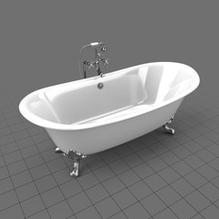 Empty clawfoot bathtub