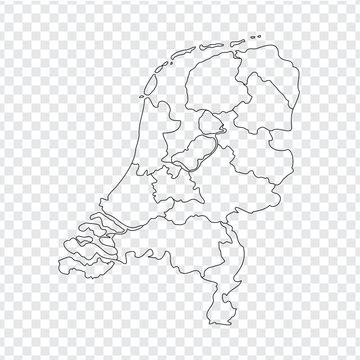 Blank map Netherlands. High quality map Kingdom of Netherlands with provinces on transparent background for your web site design, logo, app, UI. Stock vector. Vector illustration EPS10.