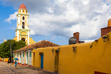 Colonial houses and the Tower of Saint Francis Convent, Trinidad, Cuba