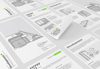 Brochure Layout with Tech Illustrations