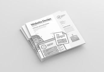 Square Brochure Layout with Web Design Illustrations
