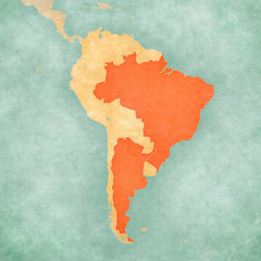 Map of South America - Brazil and Argentina