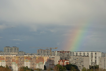 Natural landscape - rainbow over the city