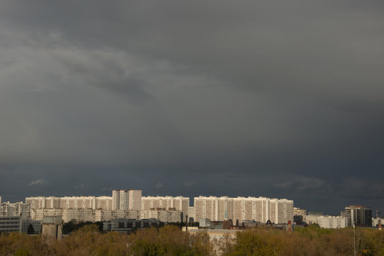 URBANISTIC LANDSCAPE of Moscow - clouds over the city